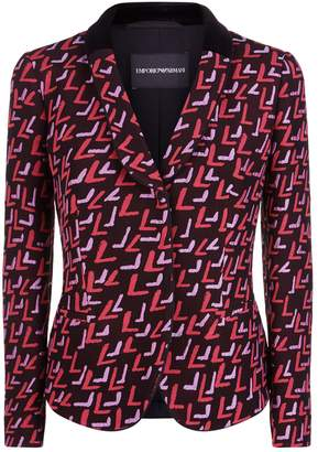 Emporio Armani Single Breasted Jacquard Jacket