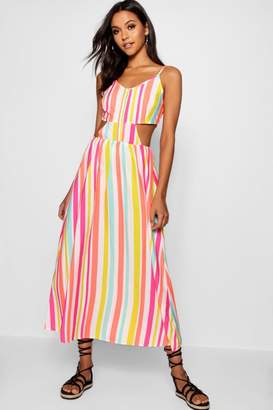 boohoo Tall Candy Stripe Tie Back Cami Dress