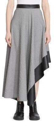 Loewe Leather Trimmed Asymmetric Midi Skirt