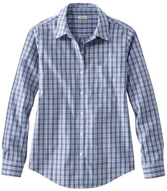 L.L. Bean L.L.Bean Women's Wrinkle-Free Pinpoint Oxford Shirt, Long-Sleeve Relaxed Fit Plaid