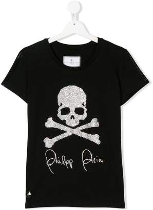 Philipp Plein Junior TEEN gem studded logo T-shirt