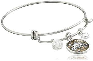 """Disney Stainless Steel Catch Bangle with Plated Cinderella Carriage Charm """"If You Keep Believing the Dreams You Wish Will Come True"""" and Crystal Bead Charm Bangle Bracelet"""