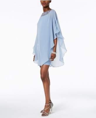 Xscape Evenings Embellished Chiffon Cape-Overlay Dress, Regular & Petite Sizes