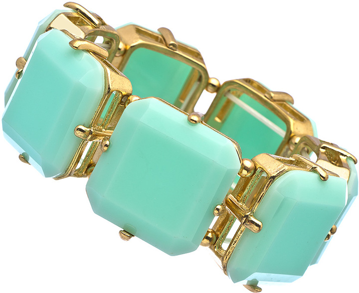 Blu Bijoux Gold and Emerald Cut Stones Stretch Bracelet