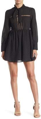 re:named apparel Hilary Neck Tie Dot Print Mini Dress