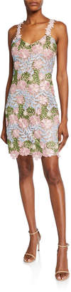 Laundry by Shelli Segal Floral Lace Sweetheart-Neck Mini Dress