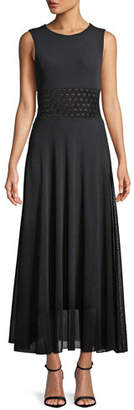 Fuzzi Sleeveless Pattern-Waist Tulle Maxi Dress