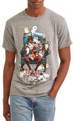 Super Heroes Marvel Deadpool Cat Comics Men's Graphic T-shirt