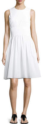 Rosetta Getty Smocked-Waist Poplin Dress