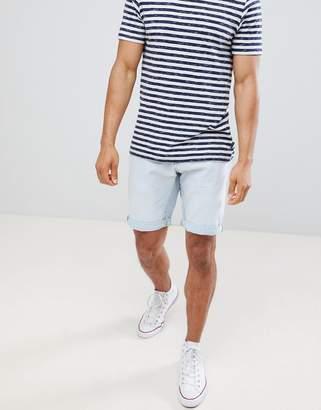 Celio Slim Fit Denim Shorts In Bleached Wash
