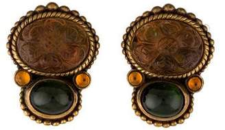 Stephen Dweck Carved Quartz, Tourmaline & Citrine Clip-On Earrings