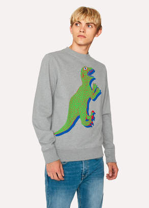 Paul Smith Men's Grey Marl Organic-Cotton Large Dino Sweatshirt