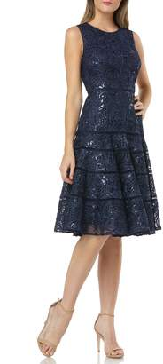 Carmen Marc Valvo Soutache Fit & Flare Dress