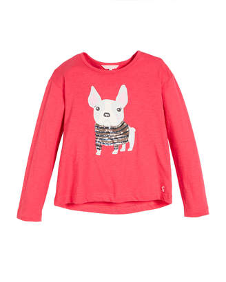 Joules Raya French Bulldog Graphic & Sequin Tee, Size 3-12