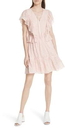 Kate Spade embroidered cotton & silk chiffon dress