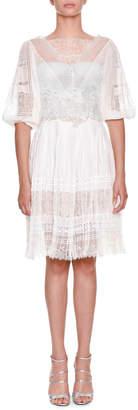 Ermanno Scervino High-Neck Elbow-Sleeve Multi-Lace Plisse Short Dress