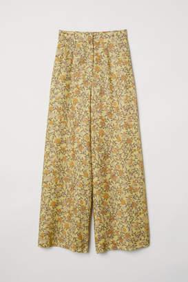 H&M Wide-leg Pants - Yellow