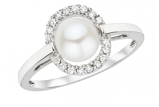 Ice 6.5-7mm Cultured Freshwater Pearl and Diamond 10K White Gold Ring