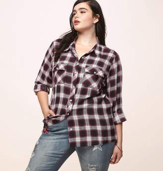 Factory Loralette Merlot Plaid Shirt