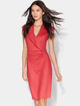 Halston Fitted Drape Front Boiled Wool Dress