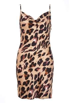Quiz TOWIE Stone Leopard Print Cowl Slip Dress