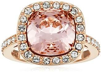 Swarovski Plated Sterling Silver Crystal Crystal Morganite Cushion-Cut Halo Ring Size 8