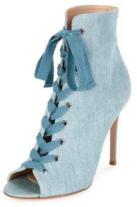 Gianvito Rossi Denim Open-Toe 105mm Bootie, Blue $1,095 thestylecure.com