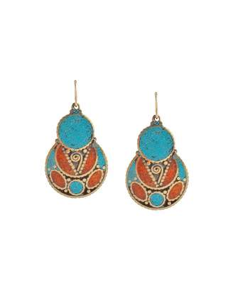 Devon Leigh Turquoise & Coral Drop Earrings
