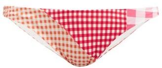 Marysia Swim Suffolk Patchwork Gingham Bikini Briefs - Womens - Red White