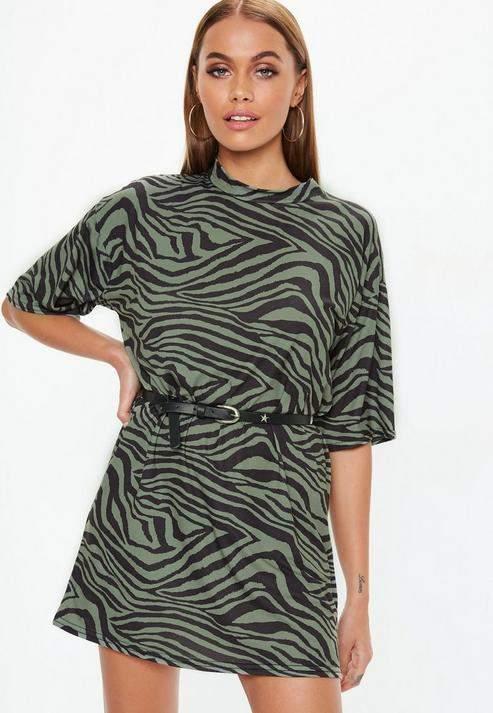 Khaki Oversized T-Shirt Dress, Khaki