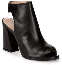 Stuart Weitzman Front Room Leather Backless Open Toe Ankle Boots