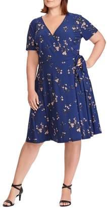 Chaps Floral Jersey Wrap Dress