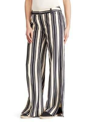 Lauren Ralph Lauren Striped Vented Wide-Leg Pants