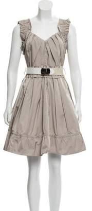 Marc Jacobs Ruffle-Trimmed Mini Dress Beige Ruffle-Trimmed Mini Dress