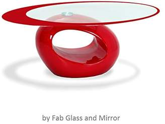 Fab Glass and Mirror Stylish Oval Shape Coffee Table