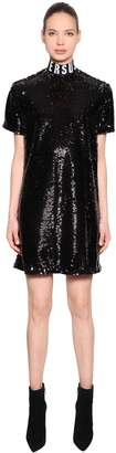 Versus Sequined Dress With Logo Collar