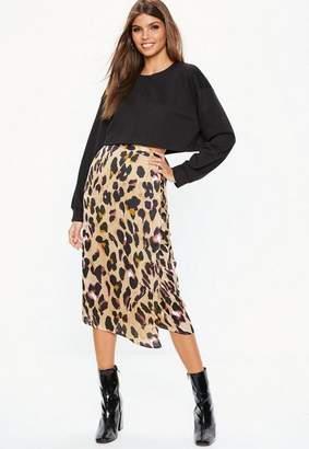 Missguided Brown Leopard Print Tie Side Midi Skirt