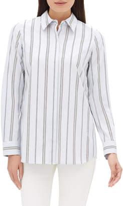 Lafayette 148 New York Velma Long-Sleeve Sonoran Striped Cotton Blouse