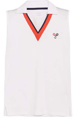 Tory Sport Performance Embroidered Piqué Top - White