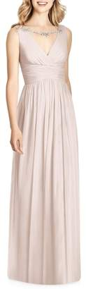 Jenny Packham Sleeveless Sparkle Neck Chiffon Gown