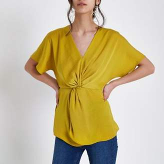 River Island Womens Dark yellow satin knot front shirt