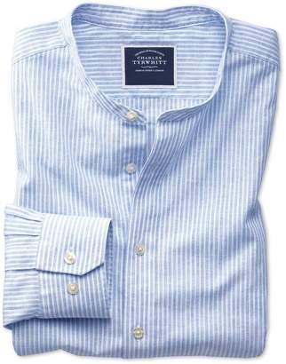 Charles Tyrwhitt Slim Fit Blue Stripe Collarless Cotton Casual Shirt Single Cuff Size Large