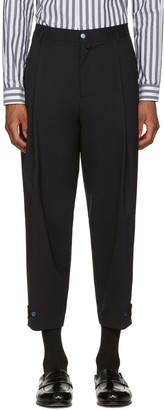 Dolce & Gabbana Navy Pleated Trousers $745 thestylecure.com
