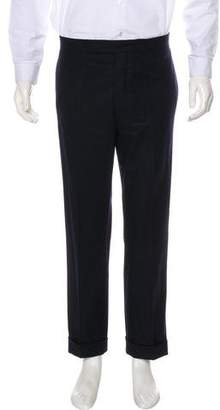 Black Fleece Wool Flat Front Pants