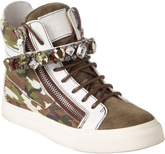 Giuseppe Zanotti Embellished Leather & Suede High-Top Sneaker