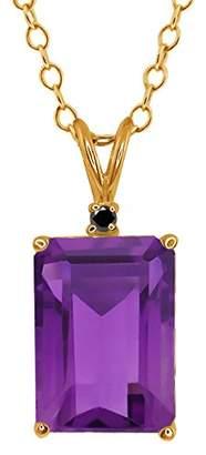 Black Diamond Gem Stone King 7.12 Ct Octagon Purple Amethyst and 14k Yellow Gold Pendant