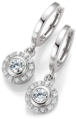 Breuning Sterling Silver Bezel Set CZ & Halo Huggie Hoop Earrings