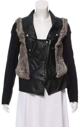 Yigal Azrouel Cut25 by Fur-Trimmed Leather Jacket