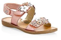 Naturino Little Girl's& Girl's Floral Embellished Leather Sandals