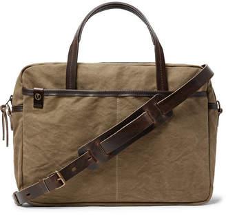 Bleu de Chauffe Leather-Trimmed Canvas Briefcase